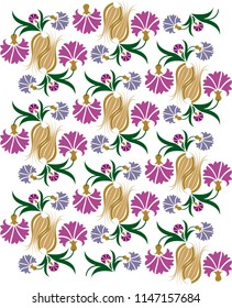 Carnations and Tulips pattern. Vector drawing. It can be used as wallpaper, gift or wrapping paper, notebook cover, background card for gift card, background print for table or poster.