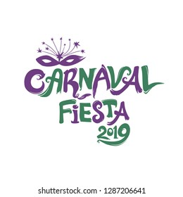 Carnaval Fiesta 2019. logo in spanish. Translated as Carnaval party 2019. Hand drawn two color template with Masquerade Mask. Vector pattern isolated on white.