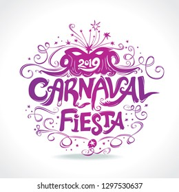 Carnaval Fiesta. logo in spanish. Carnival beautiful vintage title. Hand drawn vector templates with Masquerade Mask.