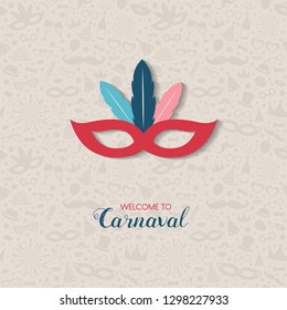 Carnaval Party - colorful card with mask. Vector