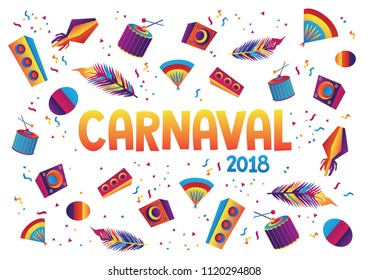 Carnaval poster with illustration, party invitation card, isolated background, carnaval background