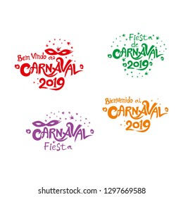 Carnival 2019. A set of four bright multicolored Carnival logos in three languages Spanish and Portuguese. Logo in Carnival, Carnaval.  Vector handwritten logo with masks.