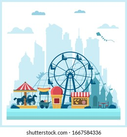 Carnival amusement park vector Illustration in flat style. fun fair carousels, roller coaster, traveling carnival attractions Isolated on white backdrop. Concept of family recreation, urban landscape