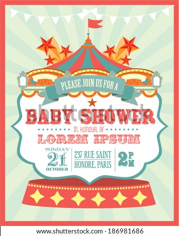 carnival baby shower invitation card template のベクター画像素材