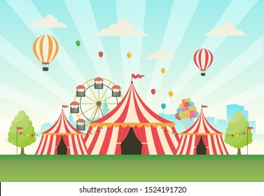 Carnival background design with tents and balloons - vector