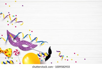 Carnival background flat lay. Carnival mask, streamers, confetti on white wooden background. Vector illustration