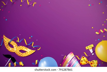 Carnival background flat lay. Carnival mask, streamers, confetti, balloons on purple background. Vector illustration