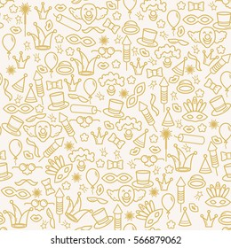 Carnival background with line icons and objects. Seamless vector pattern.