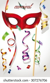 Carnival background with mask, confetti and ribbons