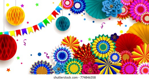 Carnival background.Design of children`s party poster. Colorful 3D