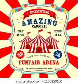 Carnival banner. Circus. Funfair flyer