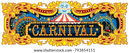 carnival banner circus template circus vintage のベクター画像素材
