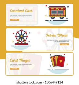 Carnival Banner Collection with Outline Filled Style