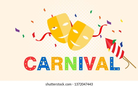 Carnival card or banner with confetti. Typography design