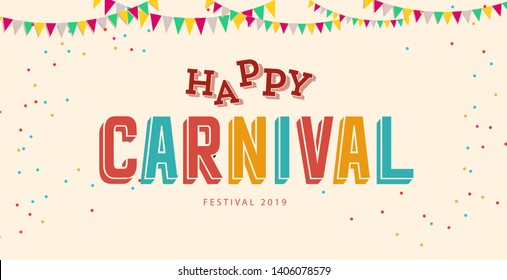 Carnival card or banner with typography design. Vector illustration with retro light bulbs font, streamers, confetti and hanging flag garlands. - Vector