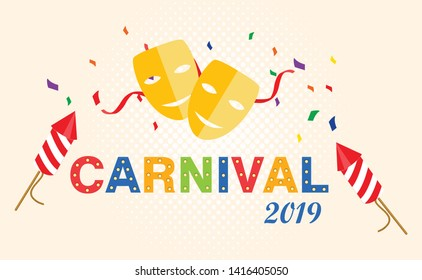 Carnival card or banner. Typography design