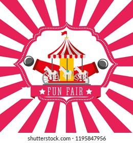 carnival carousel cannon fun fair retro label