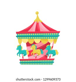 Carnival carousel with horses. Funfair attraction. Amusement park equipment. Entertainment theme. Flat vector icon