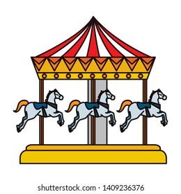 carnival carousel horses icon vector illustration