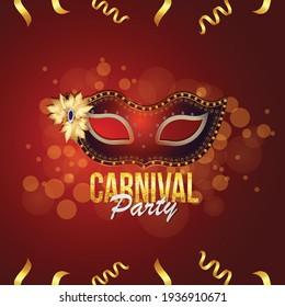 Carnival celebration banner with golden mask and background