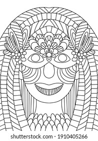 Carnival character queen with venetian mask stock vector illustration. Young woman with makeup and mask on masquerade coloring page for kids and adults. Fat Tuesday festival symmetrical portrait art