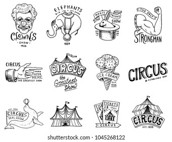 Carnival Circus badge. Harlequin with animals. clown and elephant, ice cream, magic focus in the tent. funnyman funster or freak. festival with actors. engraved emblem hand drawn. theater and marquee.
