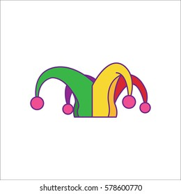 Carnival or clown or Mardi Gras hat symbol simple flat icon on background