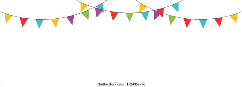 Carnival  colored garlands and bunting. Vector isolated illustration. Confetti festive colorful carnival illustration. Celebrate background. EPS 10
