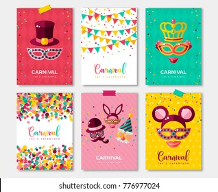Carnival colorful posters set, flyer or invitation design. Vector illustration. Funfair funny tickets with pattern and emblem. Place for your text message.