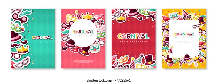 Carnival colorful posters set, flyer or invitation. Vector illustration. Funfair funny tickets design with pattern and emblem. Place for your text message.