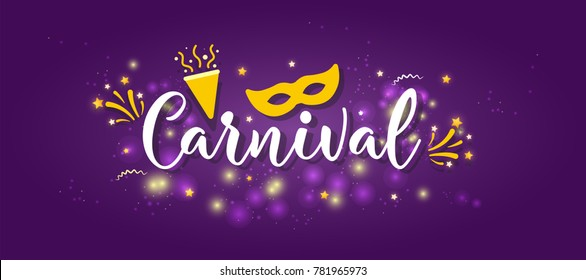 Carnival Concept Banner with mask, stars, firework Icons on shiny purple background.