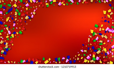 Carnival Confetti Background.  Holiday Decoration Isolated Elements on Background. Many Falling Carnival Confetti for Your Design. Carnival Vector Illustration. Invitation Card, Poster, Flyer.