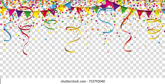 Carnival Confetti Ribbons Festoon Header Transparent