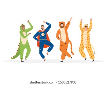 Carnival costumes. Mans dressed in onesies representing various animals and characters. Dancing mans. Set of mans wearing jumpsuits or kigurumi. Flat cartoon illustration.