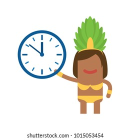 Carnival dancer holding a clock, vector illustration design. Carnival characters collection.