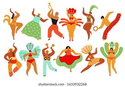 Carnival dancers. Capoeira, brazilian people dancing. Hot festive girls and boys, samba festival. Brazil dance party vector characters set