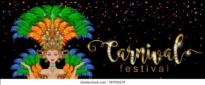 Carnival dancing girl in costume from rio de janeiro with gold patterned, colorful ostrich feather and crystals on paper color.