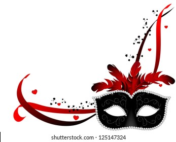 Carnival facemask on white background
