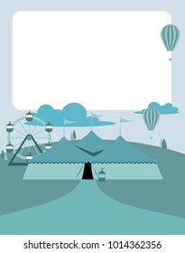 Carnival fairground with circus tent hot-air balloons and copy space