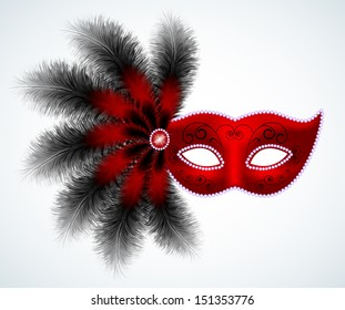 Carnival feathers mask  isolated on white
