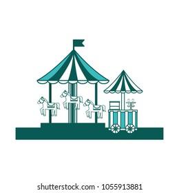 carnival festival carousel and food ice cream cart