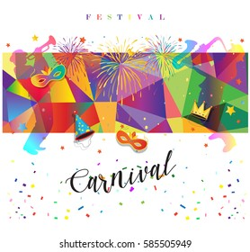 Carnival festival poster dancing misic. Bright confetti, fireworks masquerade symbols abstract colorful sign. Rio Brazilian carnival Festa Junina, Mardi Gras, Rose Monday, Italian Venetian, New Orlean