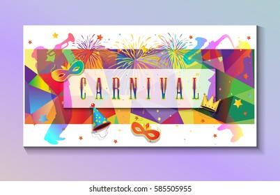 Carnival festive poster Rio Festa Junina. Musicians, Bright confetti, fireworks, masquerade symbols, abstract colorful sign. Brazilian carnival, Venetian carnival, Mardi Gras parade 2019 invitation