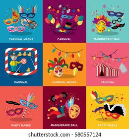 Carnival flat design set,vector illustration.Masquerade ball concept,photo booth party and funfair.Collection of color mask,smiling lips and confetti.For poster,placard,wallpaper,backdrop and web site