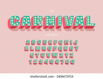 Carnival font and alphabet. Colorful vector letters and numbers