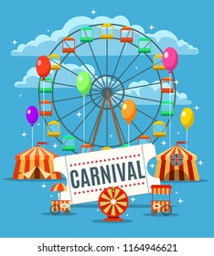 Carnival fun park poster. Amusement park banner with circus and funfair elements, amuse festival graphics design, vector illustration