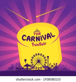The carnival funfair and amusement with sunbeams background. vector illustration
