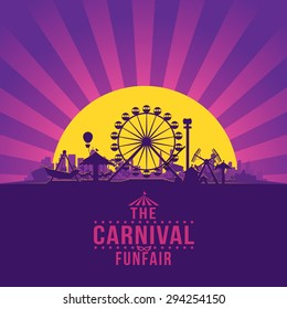 The carnival funfair and amusement with sunset/sunbeams background. vector illustration