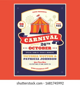 Carnival, funfair colored poster in flat style with ferris wheel from amusement parks, headline, sample text on background vector illustration