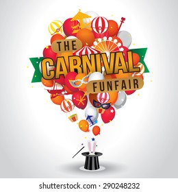 The carnival funfair and magic show. vector illustration